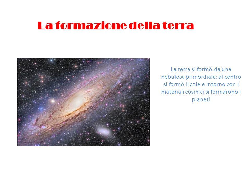 La formazione della terra La terra si formò da una nebulosa primordiale; al centro si formò il sole e intorno con i materiali cosmici si formarono i p