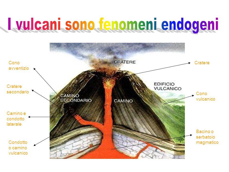 Bacino o serbatoio magmatico Camino e condotto laterale Condotto o camino vulcanico Cratere secondario Cono avventizio Cono vulcanico Cratere