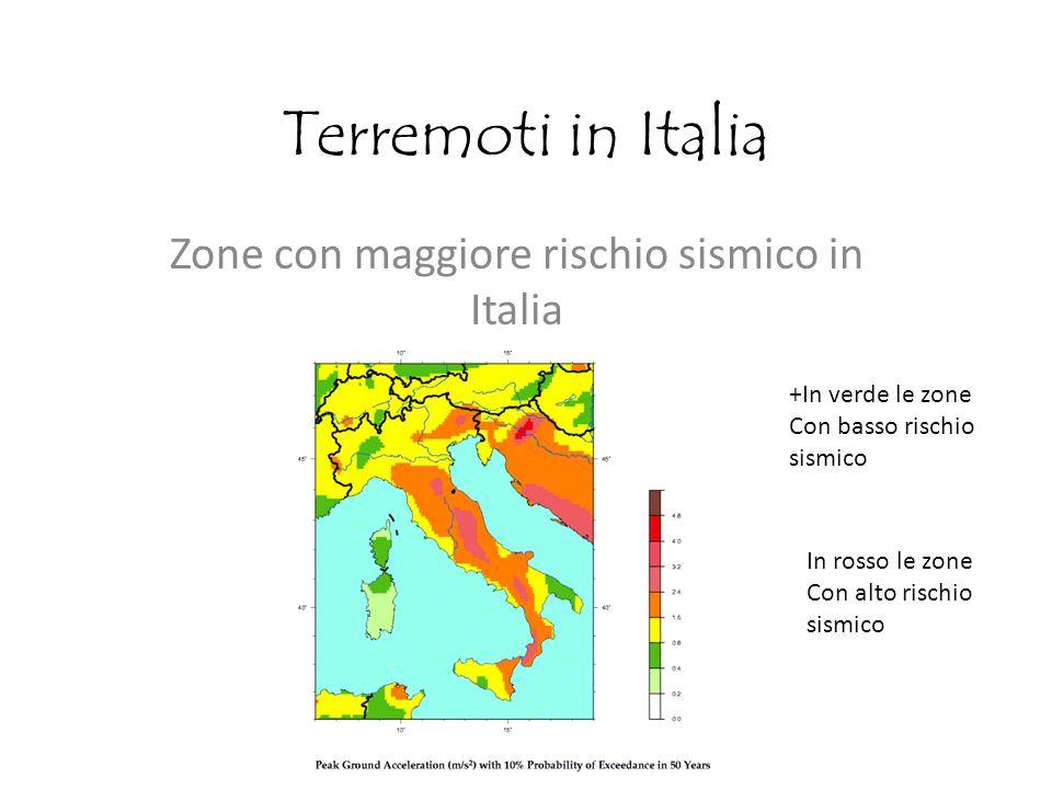 Terremoti in Italia Zone con maggiore rischio sismico in Italia +In verde le zone Con basso rischio sismico In rosso le zone Con alto rischio sismico