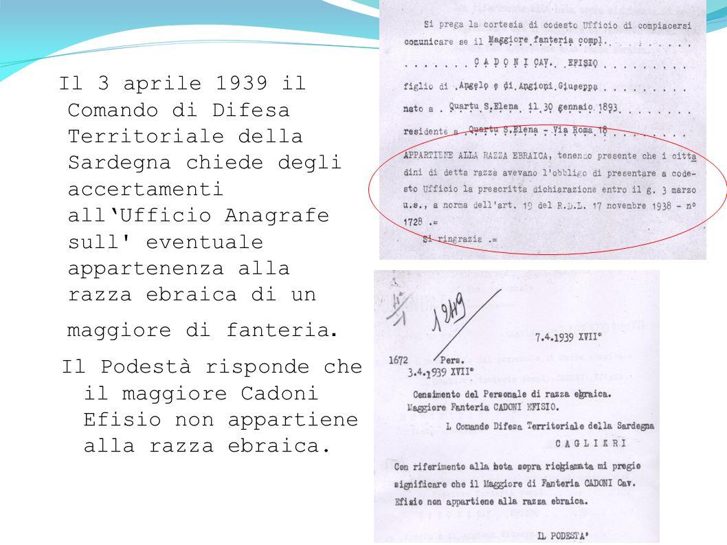 Il 3 aprile 1939 il Comando di Difesa Territoriale della Sardegna chiede degli accertamenti all'Ufficio Anagrafe sull' eventuale appartenenza alla raz