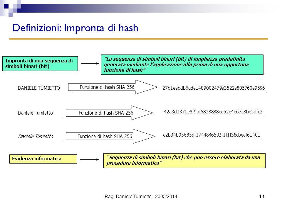 """11 Definizioni: Impronta di hash Impronta di una sequenza di simboli binari (bit) """"La sequenza di simboli binari (bit) di lunghezza predefinita genera"""