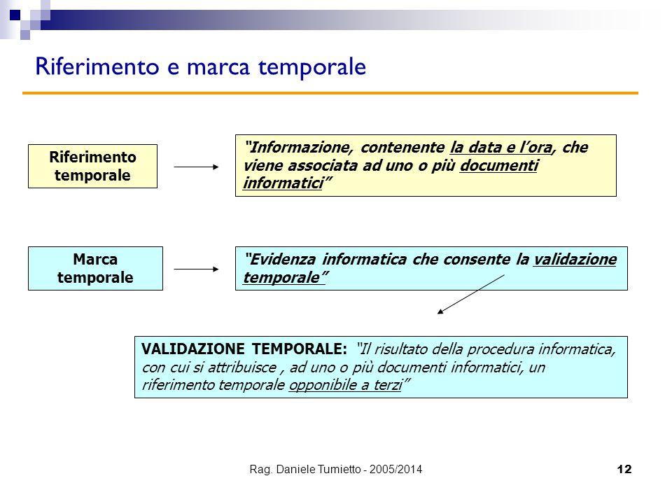 """12 Riferimento e marca temporale Riferimento temporale """"Informazione, contenente la data e l'ora, che viene associata ad uno o più documenti informati"""