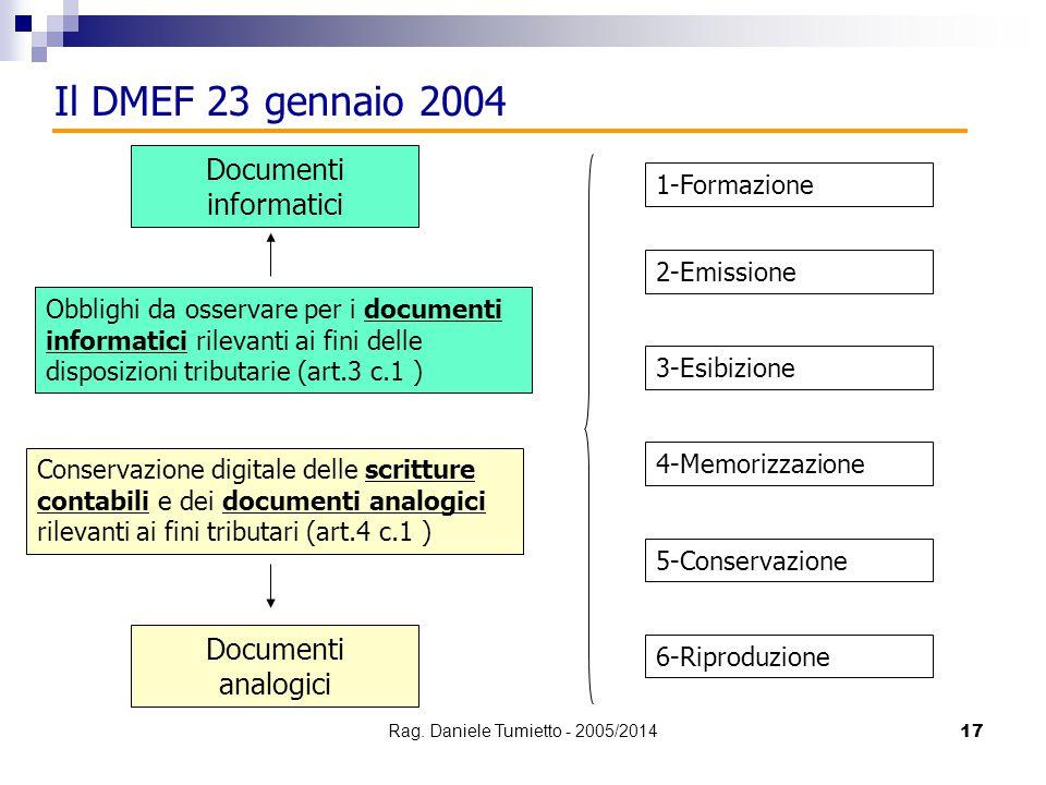 17 Il DMEF 23 gennaio 2004 Obblighi da osservare per i documenti informatici rilevanti ai fini delle disposizioni tributarie (art.3 c.1 ) 1-Formazione