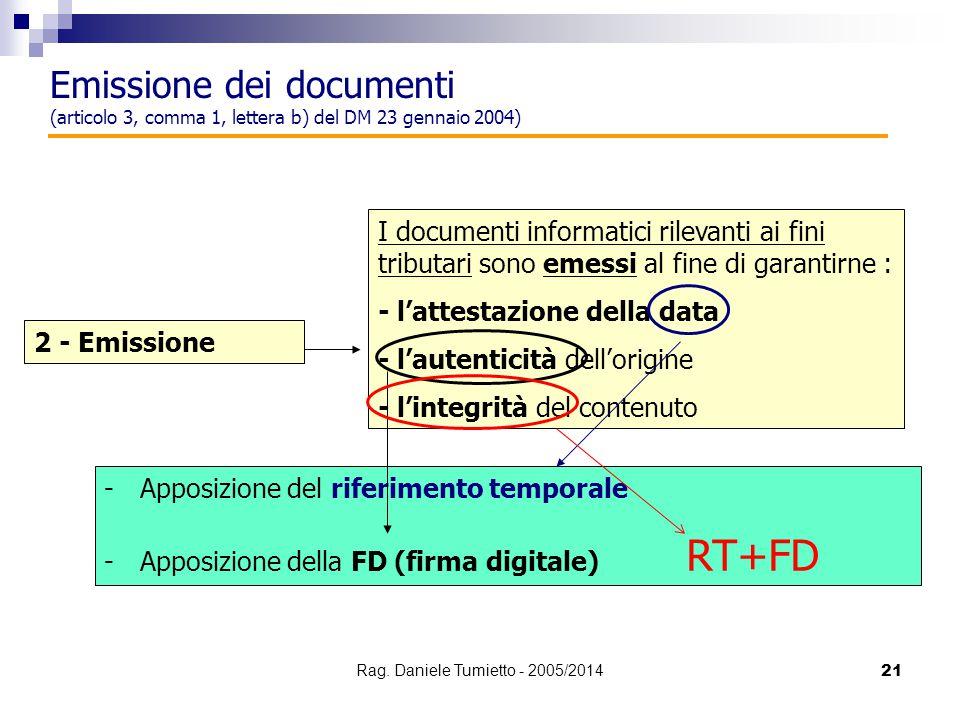 21 2 - Emissione I documenti informatici rilevanti ai fini tributari sono emessi al fine di garantirne : - l'attestazione della data - l'autenticità d