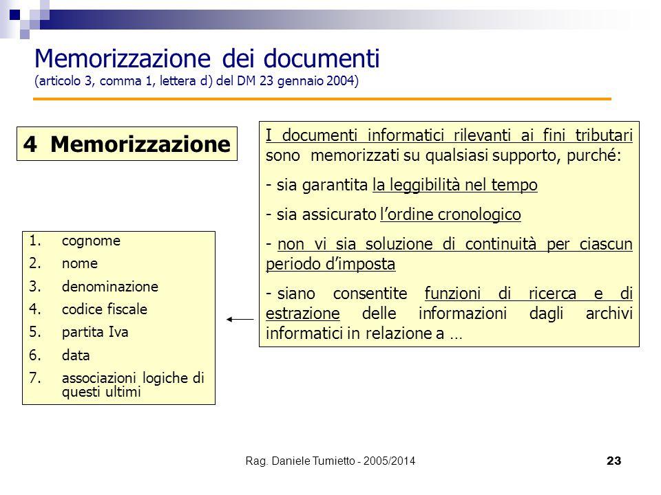 23 4 Memorizzazione I documenti informatici rilevanti ai fini tributari sono memorizzati su qualsiasi supporto, purché: - sia garantita la leggibilità