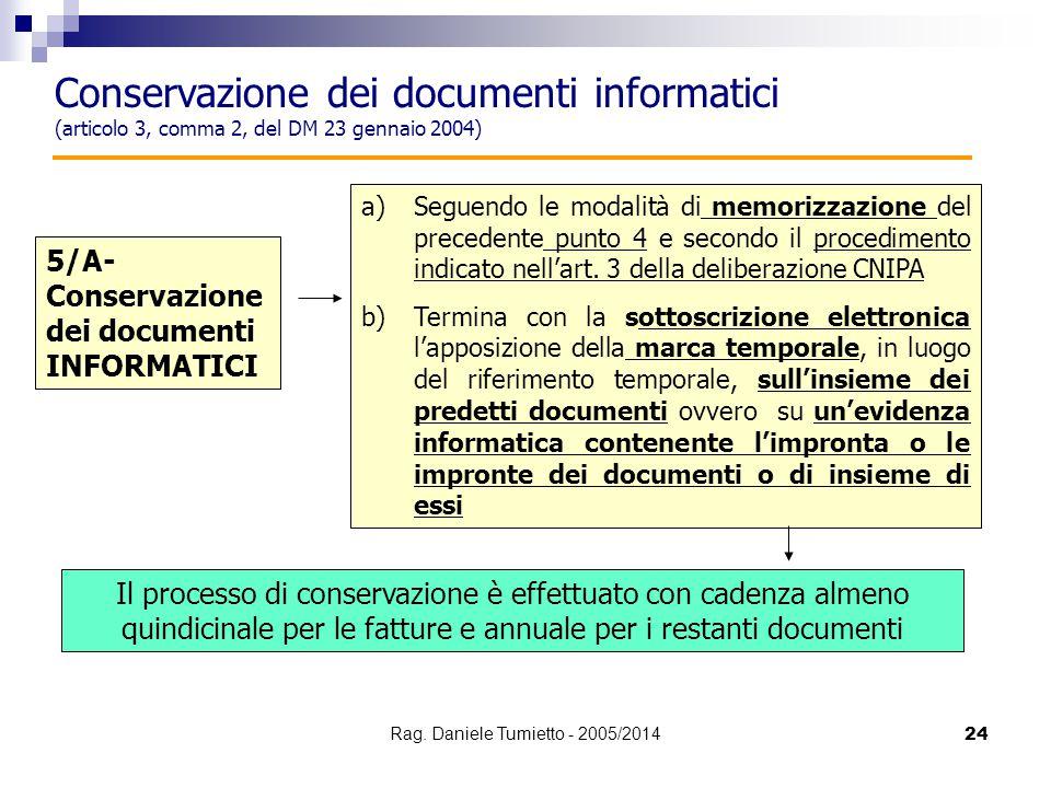 24 a)Seguendo le modalità di memorizzazione del precedente punto 4 e secondo il procedimento indicato nell'art. 3 della deliberazione CNIPA b)Termina