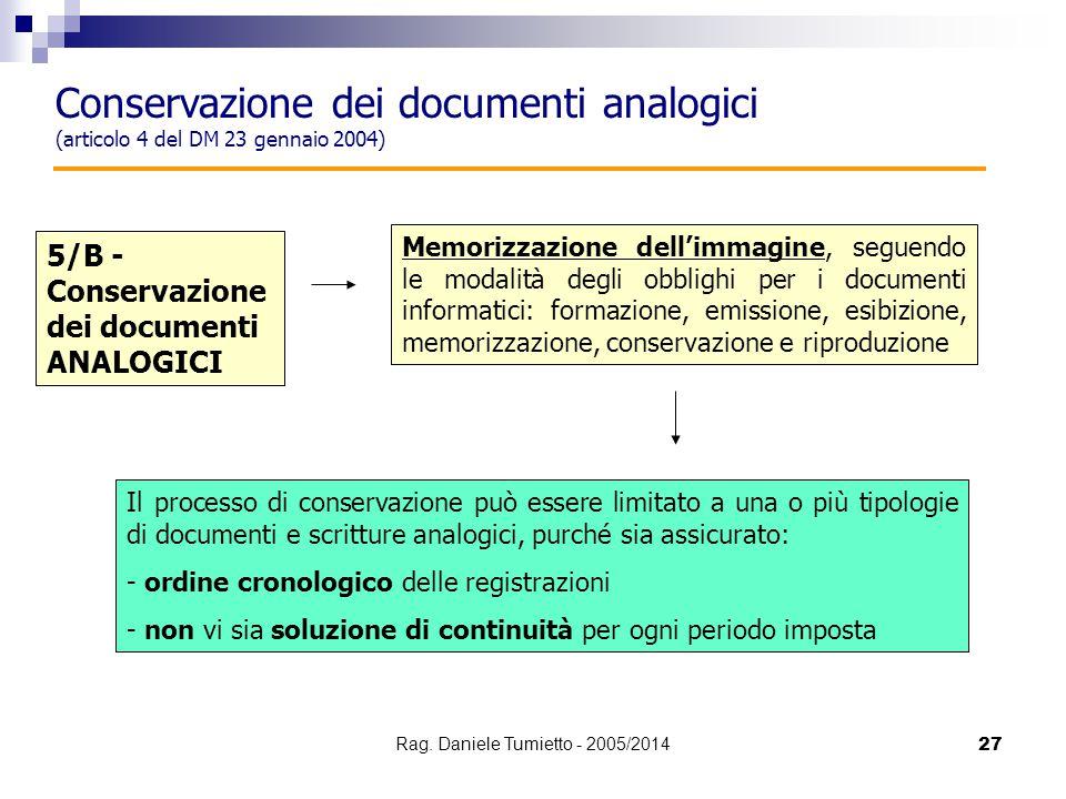 27 Conservazione dei documenti analogici (articolo 4 del DM 23 gennaio 2004) Memorizzazione dell'immagine, seguendo le modalità degli obblighi per i d