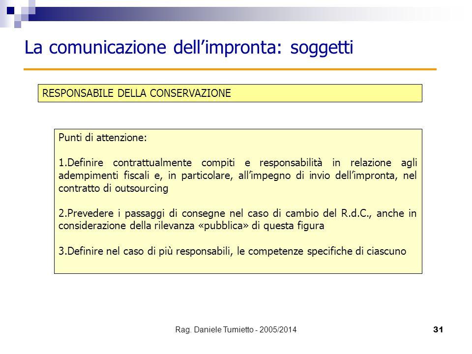 31 RESPONSABILE DELLA CONSERVAZIONE La comunicazione dell'impronta: soggetti Punti di attenzione: 1.Definire contrattualmente compiti e responsabilità