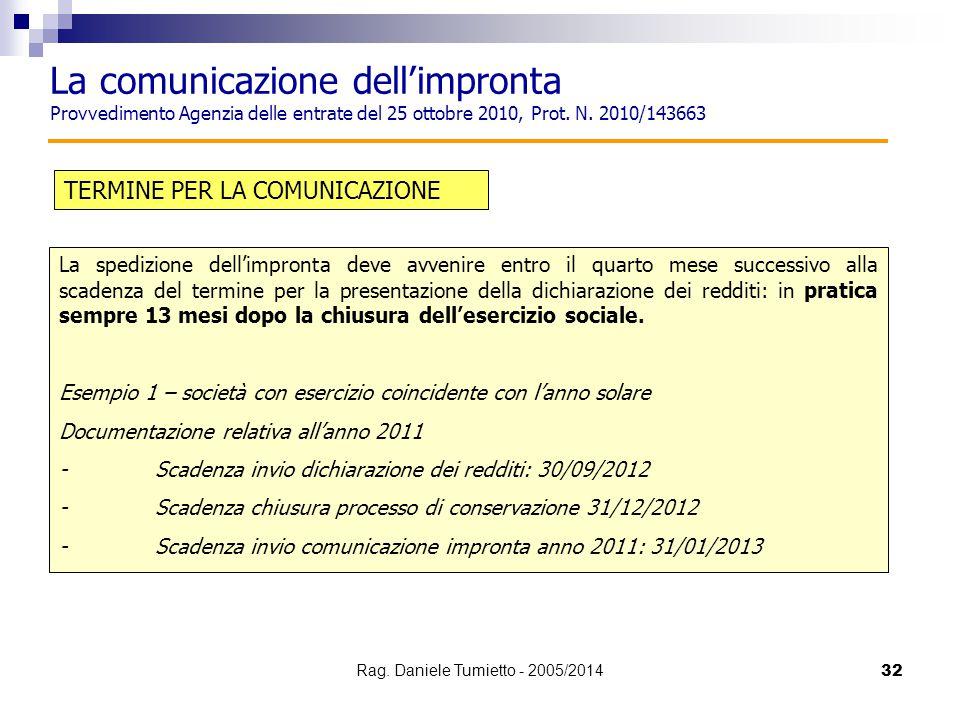 32 TERMINE PER LA COMUNICAZIONE La spedizione dell'impronta deve avvenire entro il quarto mese successivo alla scadenza del termine per la presentazio