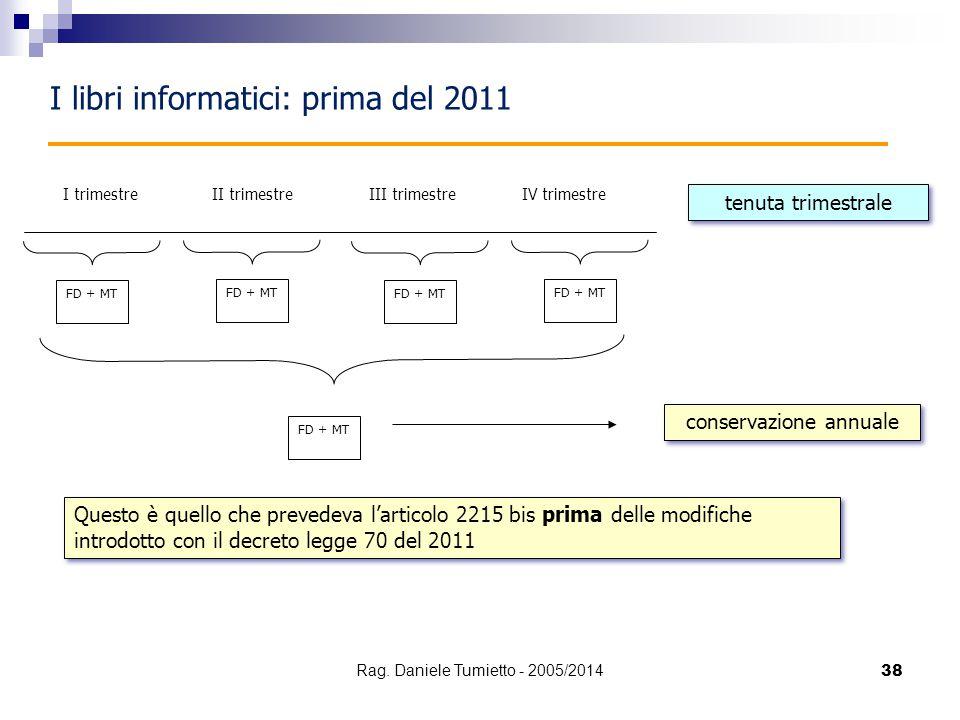 38 I libri informatici: prima del 2011 I trimestre FD + MT II trimestreIII trimestreIV trimestre FD + MT tenuta trimestrale conservazione annuale Ques
