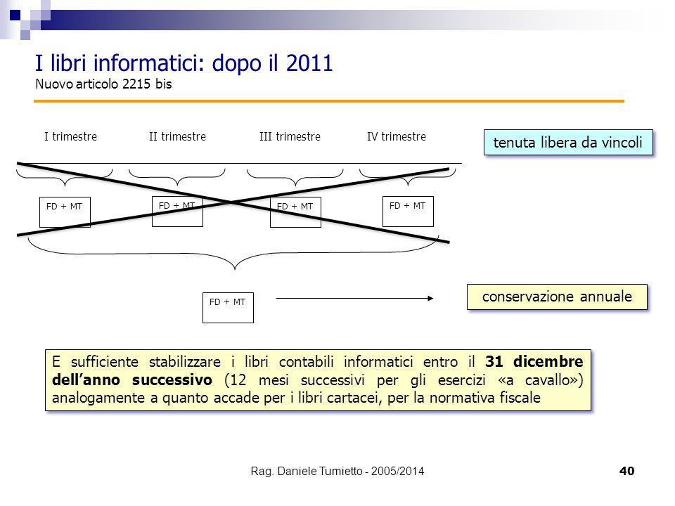 40 I libri informatici: dopo il 2011 Nuovo articolo 2215 bis I trimestre FD + MT II trimestreIII trimestreIV trimestre FD + MT tenuta libera da vincol