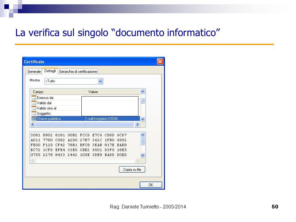 """50 La verifica sul singolo """"documento informatico"""" Rag. Daniele Tumietto - 2005/2014"""