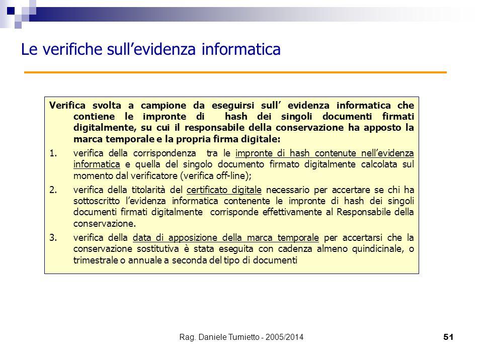 51 Le verifiche sull'evidenza informatica Verifica svolta a campione da eseguirsi sull' evidenza informatica che contiene le impronte di hash dei sing