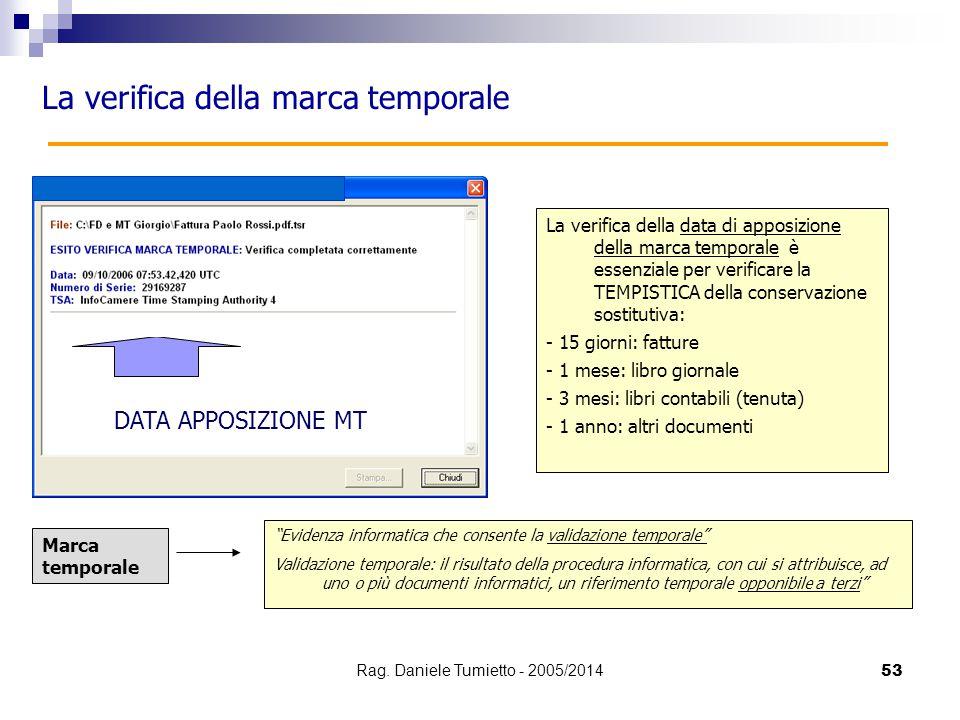 53 La verifica della marca temporale La verifica della data di apposizione della marca temporale è essenziale per verificare la TEMPISTICA della conse