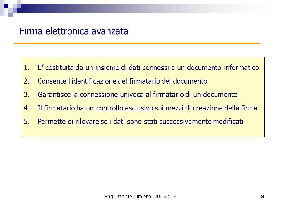 Firma elettronica avanzata 1.E' costituita da un insieme di dati connessi a un documento informatico 2.Consente l'identificazione del firmatario del d