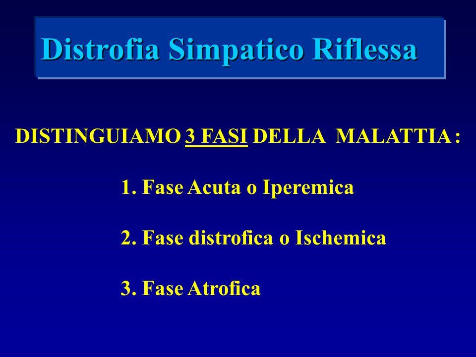 DISTINGUIAMO 3 FASI DELLA MALATTIA : 1. Fase Acuta o Iperemica 2. Fase distrofica o Ischemica 3. Fase Atrofica Distrofia Simpatico Riflessa