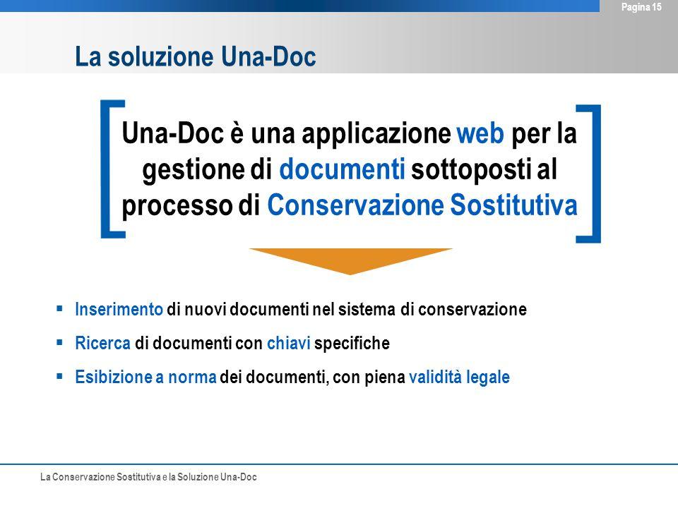 La Conservazione Sostitutiva e la Soluzione Una-Doc Pagina 15 La soluzione Una-Doc Una-Doc è una applicazione web per la gestione di documenti sottoposti al processo di Conservazione Sostitutiva  Inserimento di nuovi documenti nel sistema di conservazione  Ricerca di documenti con chiavi specifiche  Esibizione a norma dei documenti, con piena validità legale