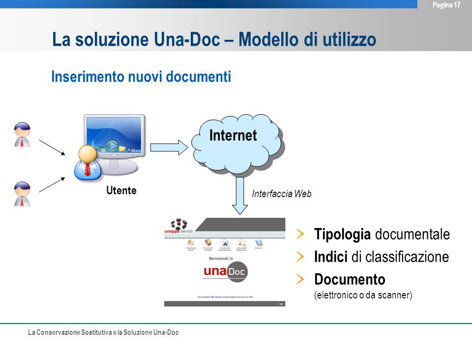 La Conservazione Sostitutiva e la Soluzione Una-Doc Pagina 17 Inserimento nuovi documenti Internet Tipologia documentale Indici di classificazione Documento (elettronico o da scanner) Interfaccia Web Utente La soluzione Una-Doc – Modello di utilizzo