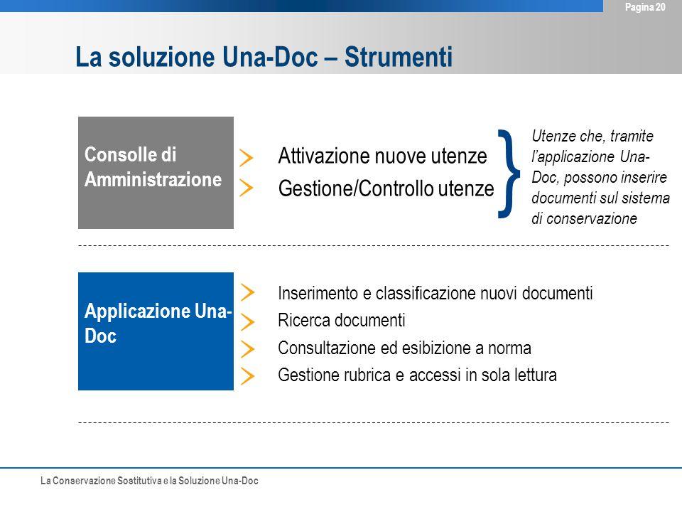 La Conservazione Sostitutiva e la Soluzione Una-Doc Pagina 20 Consolle di Amministrazione Applicazione Una- Doc Attivazione nuove utenze Gestione/Cont