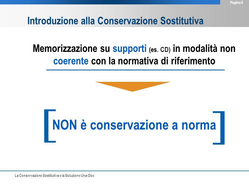 La Conservazione Sostitutiva e la Soluzione Una-Doc Pagina 5 Memorizzazione su supporti (es. CD) in modalità non coerente con la normativa di riferime