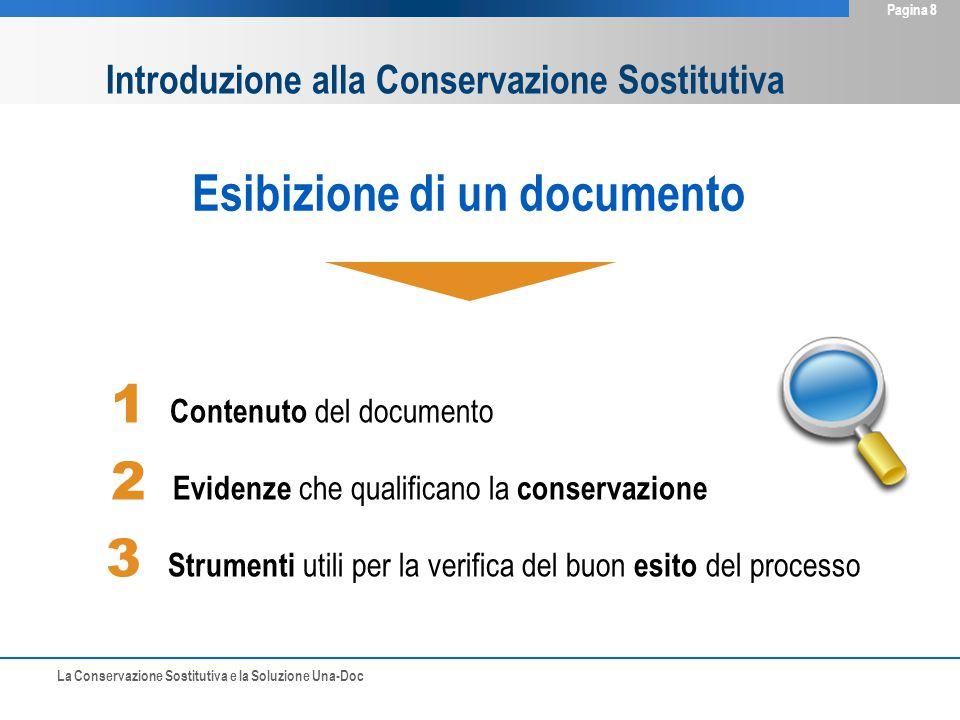 La Conservazione Sostitutiva e la Soluzione Una-Doc Pagina 8 1 Contenuto del documento 2 Evidenze che qualificano la conservazione 3 Strumenti utili per la verifica del buon esito del processo Esibizione di un documento Introduzione alla Conservazione Sostitutiva