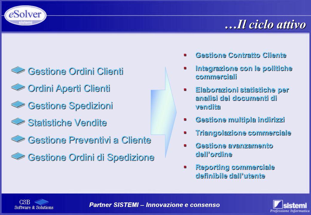 Partner SISTEMI – Innovazione e consenso CSB Software & Solutions Gestione Ordini Clienti Gestione Ordini Clienti Ordini Aperti Clienti Ordini Aperti