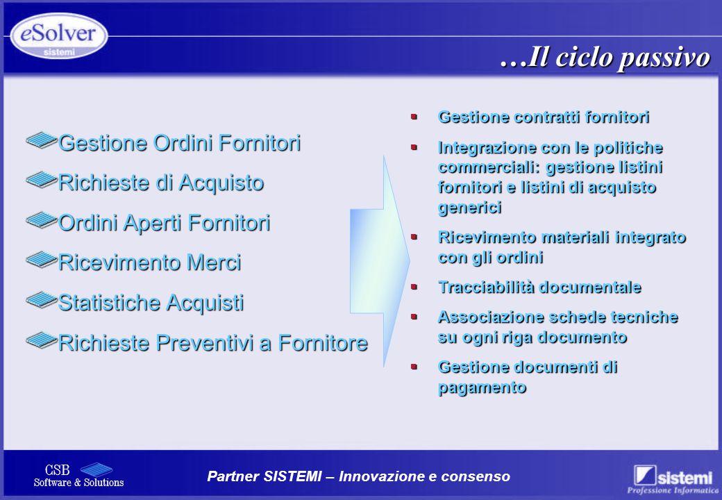 Partner SISTEMI – Innovazione e consenso CSB Software & Solutions Gestione Ordini Fornitori Richieste di Acquisto Ordini Aperti Fornitori Ricevimento
