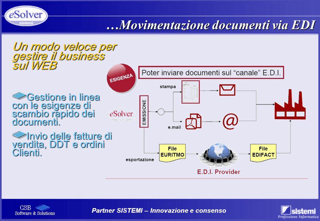 Partner SISTEMI – Innovazione e consenso CSB Software & Solutions …Movimentazione documenti via EDI Un modo veloce per gestire il business sul WEB Ges