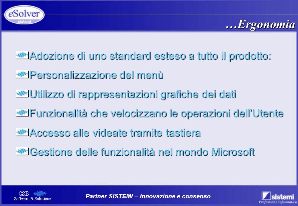 Partner SISTEMI – Innovazione e consenso CSB Software & Solutions Adozione di uno standard esteso a tutto il prodotto: Personalizzazione del menù Util