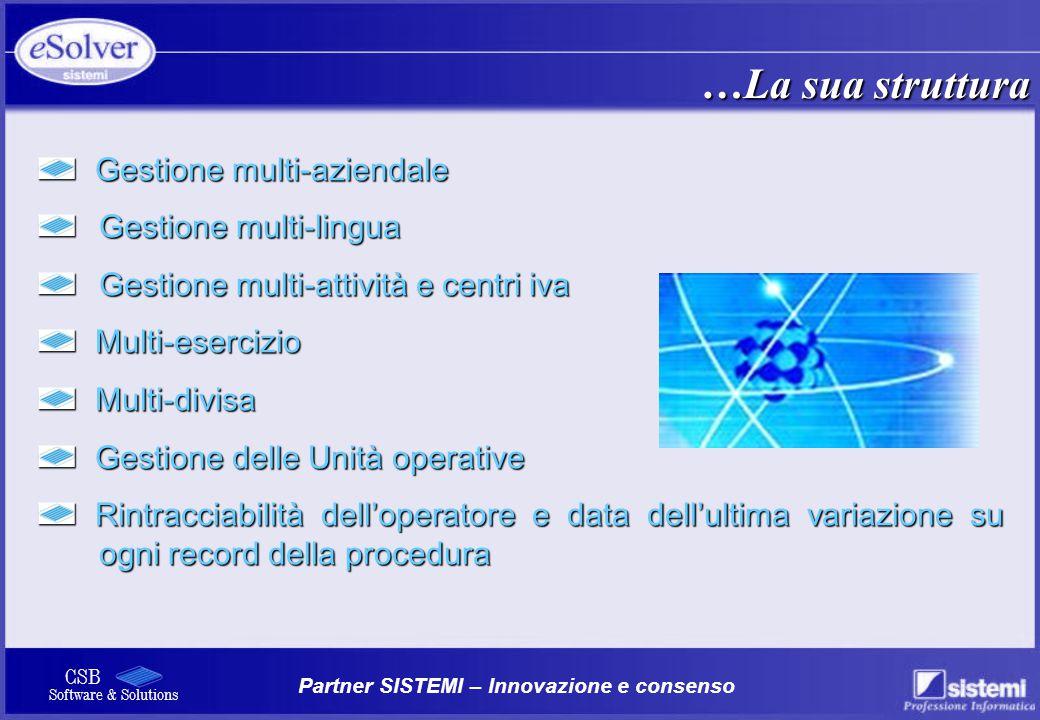 Partner SISTEMI – Innovazione e consenso CSB Software & Solutions Gestione multi-aziendale Gestione multi-aziendale Gestione multi-lingua Gestione mul