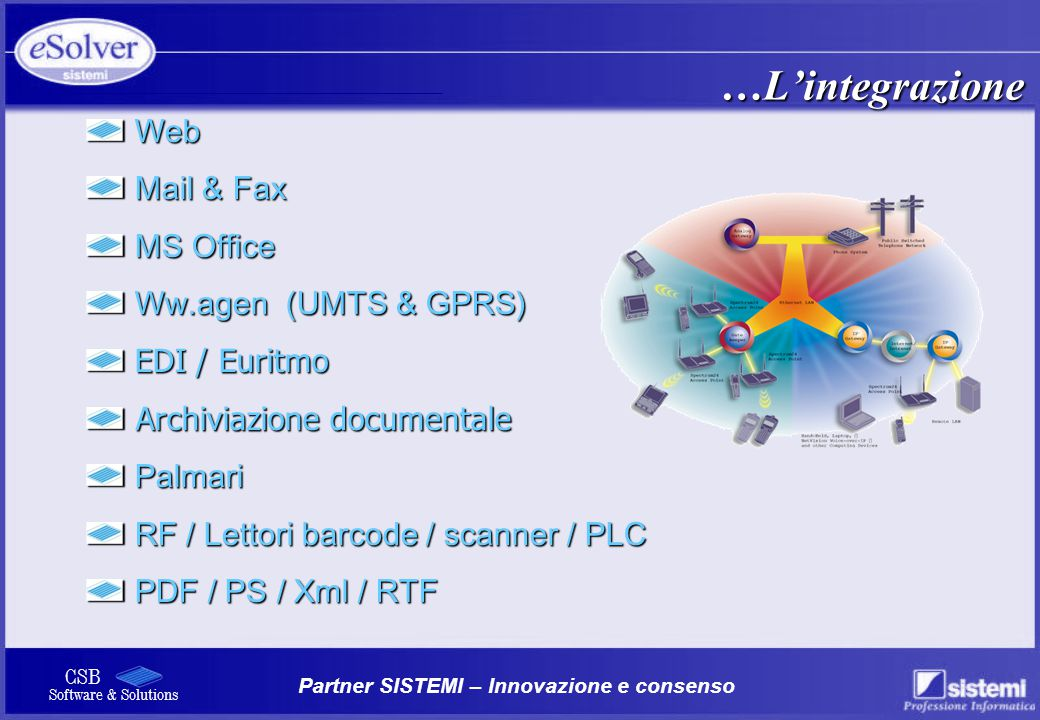 Partner SISTEMI – Innovazione e consenso CSB Software & Solutions …L'integrazione Web Web Mail & Fax Mail & Fax MS Office MS Office Ww.agen (UMTS & GP