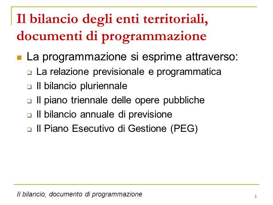 14 … i dettagli Il bilancio, documento di programmazione