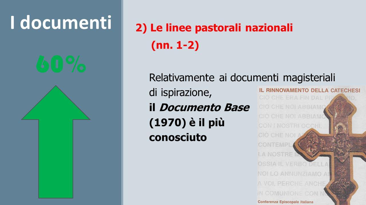 2) Le linee pastorali nazionali (nn. 1-2) Relativamente ai documenti magisteriali di ispirazione, il Documento Base (1970) è il più conosciuto I docum