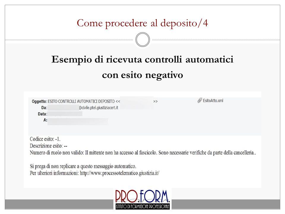 Come procedere al deposito/4 Esempio di ricevuta controlli automatici con esito negativo
