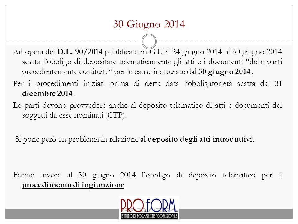 30 Giugno 2014 Ad opera del D.L. 90/2014 pubblicato in G.U. il 24 giugno 2014 il 30 giugno 2014 scatta l'obbligo di depositare telematicamente gli att