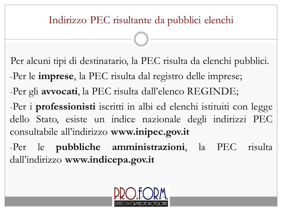 Indirizzo PEC risultante da pubblici elenchi Per alcuni tipi di destinatario, la PEC risulta da elenchi pubblici. - Per le imprese, la PEC risulta dal