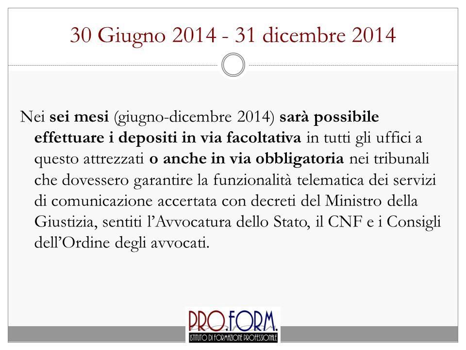 30 Giugno 2014 - 31 dicembre 2014 Nei sei mesi (giugno-dicembre 2014) sarà possibile effettuare i depositi in via facoltativa in tutti gli uffici a qu