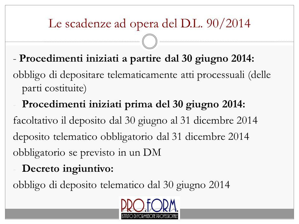Le scadenze ad opera del D.L. 90/2014 - Procedimenti iniziati a partire dal 30 giugno 2014: obbligo di depositare telematicamente atti processuali (de