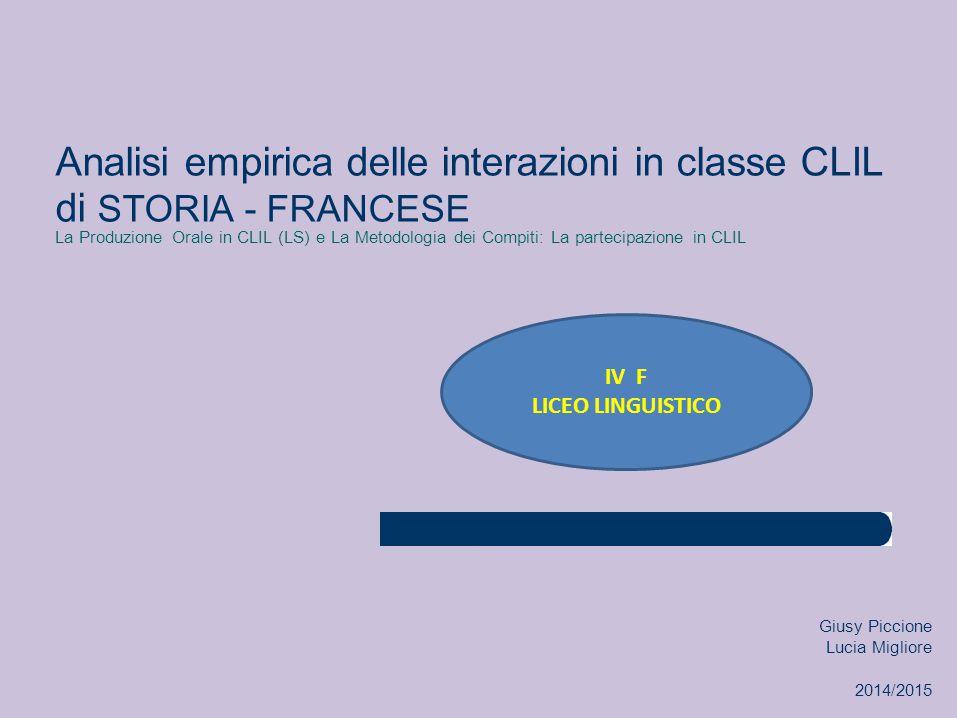 Analisi empirica delle interazioni in classe CLIL di STORIA - FRANCESE La Produzione Orale in CLIL (LS) e La Metodologia dei Compiti: La partecipazion