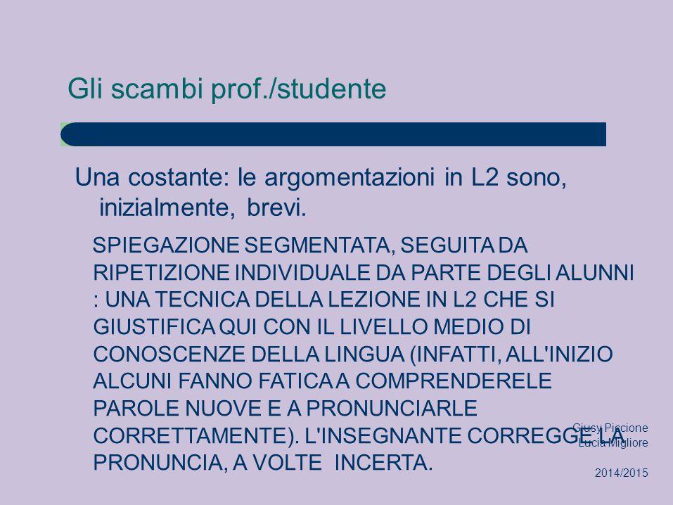 Gli scambi prof./studente Una costante: le argomentazioni in L2 sono, inizialmente, brevi. SPIEGAZIONE SEGMENTATA, SEGUITA DA RIPETIZIONE INDIVIDUALE