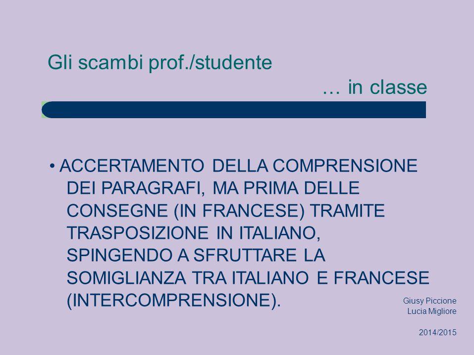 Gli scambi prof./studente... in classe ACCERTAMENTO DELLA COMPRENSIONE DEI PARAGRAFI, MA PRIMA DELLE CONSEGNE (IN FRANCESE) TRAMITE TRASPOSIZIONE IN I