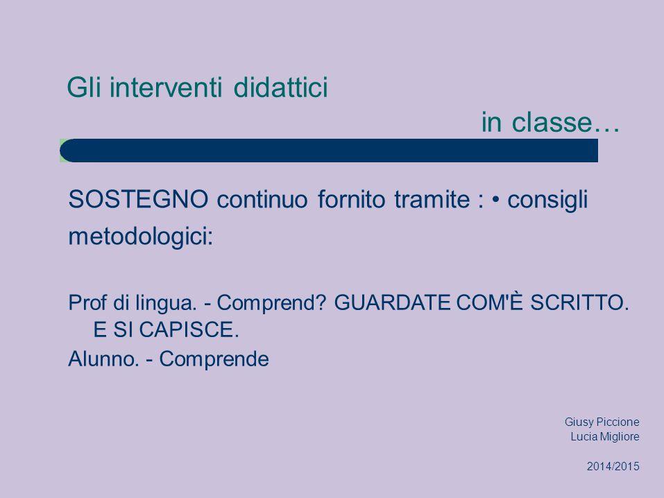 Gli interventi didattici in classe… SOSTEGNO continuo fornito tramite : consigli metodologici: Prof di lingua. - Comprend? GUARDATE COM'È SCRITTO. E S