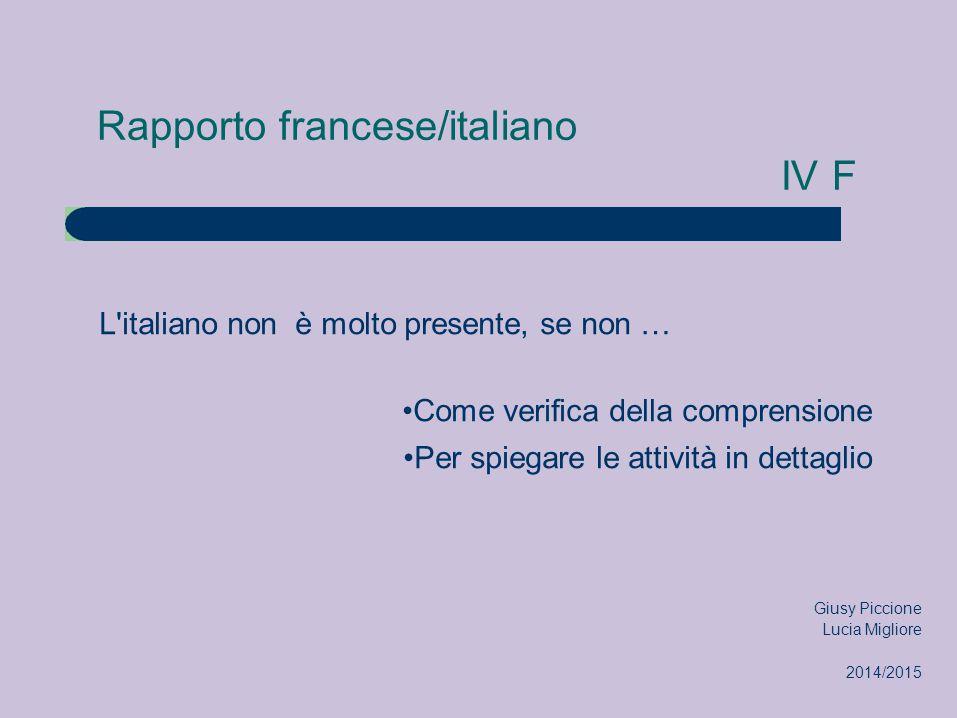 Rapporto francese/italiano IV F L italiano non è molto presente, se non … Come verifica della comprensione Per spiegare le attività in dettaglio Giusy Piccione Lucia Migliore 2014/2015