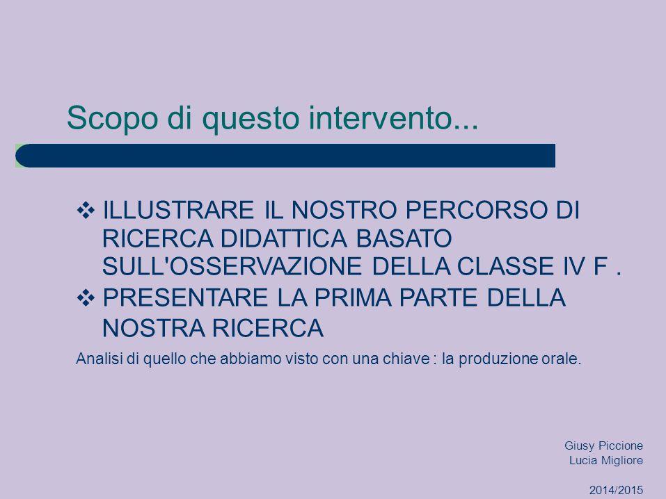 Classe osservata Moduli di Storia/Francese IV F LICEO LINGUISTICO Giusy Piccione Lucia Migliore 2014/2015