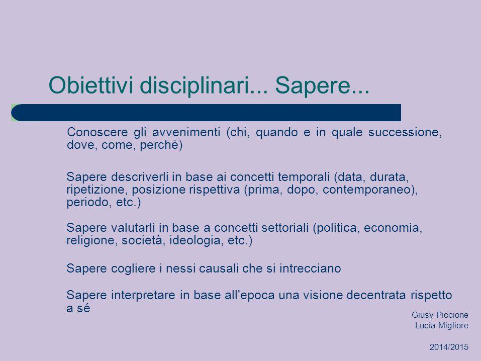 Obiettivi disciplinari...Sapere...