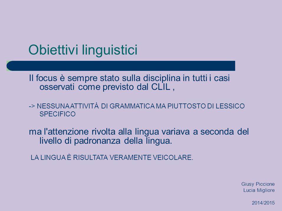 Obiettivi linguistici Il focus è sempre stato sulla disciplina in tutti i casi osservati come previsto dal CLIL, -> NESSUNA ATTIVITÀ DI GRAMMATICA MA PIUTTOSTO DI LESSICO SPECIFICO ma l attenzione rivolta alla lingua variava a seconda del livello di padronanza della lingua.