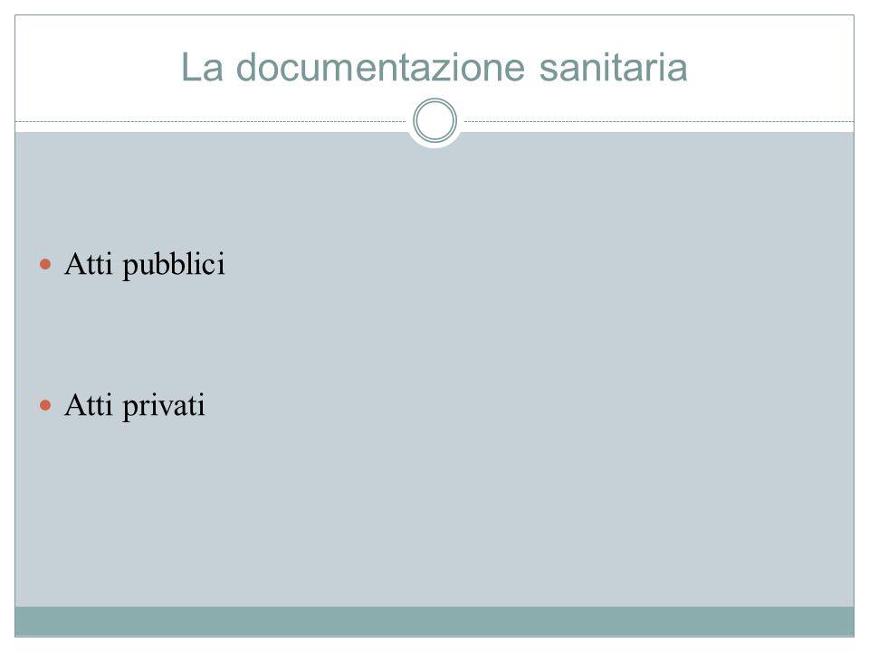 La documentazione sanitaria Atti pubblici Atti privati