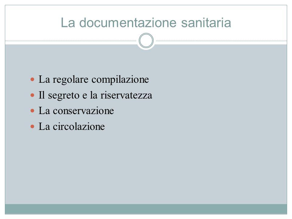 La documentazione sanitaria La regolare compilazione Il segreto e la riservatezza La conservazione La circolazione