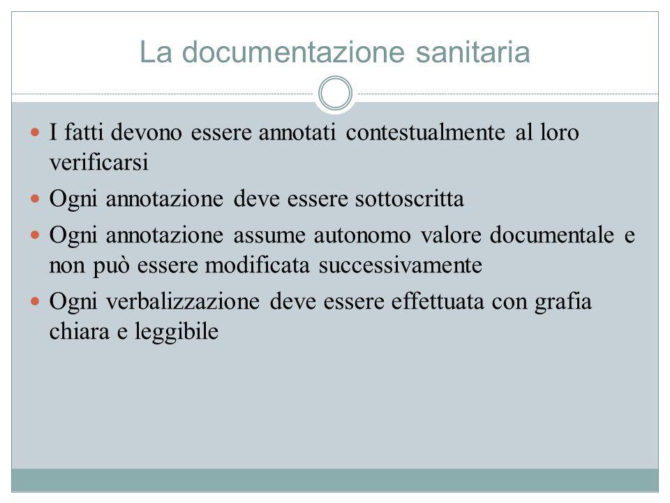La documentazione sanitaria I fatti devono essere annotati contestualmente al loro verificarsi Ogni annotazione deve essere sottoscritta Ogni annotazi