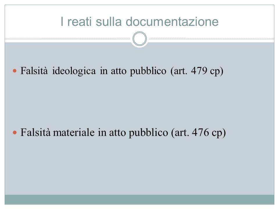 I reati sulla documentazione Falsità ideologica in atto pubblico (art. 479 cp) Falsità materiale in atto pubblico (art. 476 cp)